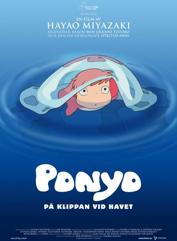 Ponyo på klippan vid havet poster